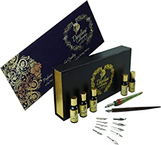 Daveliou Calligraphy Set - 19 Piece Pen Ink and Nibs Kit & Case - Wood and Glass Dipping Pens - 12 Nibs & 5 Ink - For Kids Adults Beginners or Professional