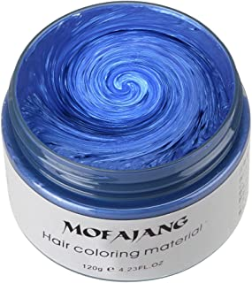 MOFAJANG Hair Color Wax, KooJoee Temporary Hair Dye Easy Wash Hairstyle Cream 4.23 oz Disposable Hair Pomades, Natural Matte Hair Modeling Wax for Party Cosplay Nightclub Masquerades Halloween (Blue)