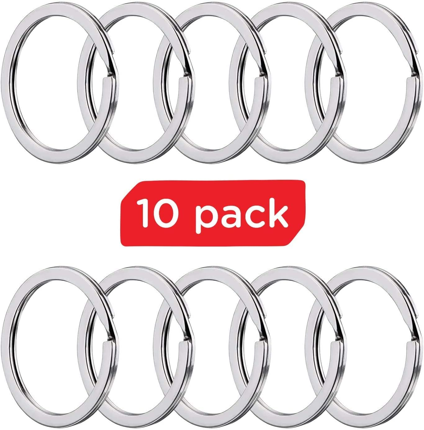 Silipac Large Key Ring Cable Wire Car Keychains Keyrings Loop Heavy Duty Tag Keepers Tough Binding Carabiner Rings Holder Stainless Steel Durable Organize 4pcs 1.5mm 6,3, Gold