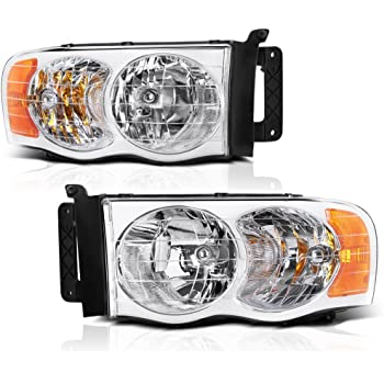 Passenger and Driver Side Headlight Assembly for Dodge Ram Pickup Truck 2002 2003 2004 2005//1500 2500 3500,Headlamps Replacement Black Housing Amber Reflector Clear Lens