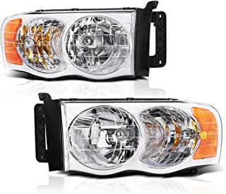 VIPMOTOZ Chrome Housing OE-Style Headlight Headlamp Assembly For 2002-2005 Dodge RAM 1500 2500 3500 Pickup Truck, Driver & Passenger Side