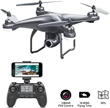 $105 » GPS Drone with Camera Live Video 1080P HD FPV RC Quadcopter Drones with Camera Follow Me Mode, Altitude Hold, Long Range Control, GPS Auto Return Home - BEEYEO Dark Grey