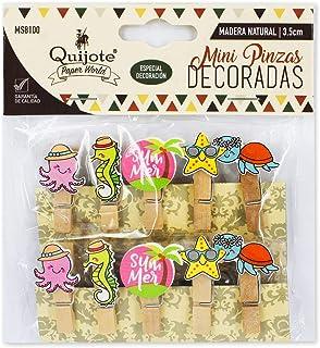 Quijote Paper World MS8100 - Mini Pinzas de Madera Decoradas, diseños Animales de mar, 40 Unidades, Incluye Cuerda de Lino