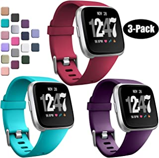 Wepro Bands Compatible with Fitbit Versa/Fitbit Versa 2/Fitbit Versa Lite SE SmartWatch for Women Men, Sports Replacement Wristband Strap for Fitbit Versa Watch, Small, Large