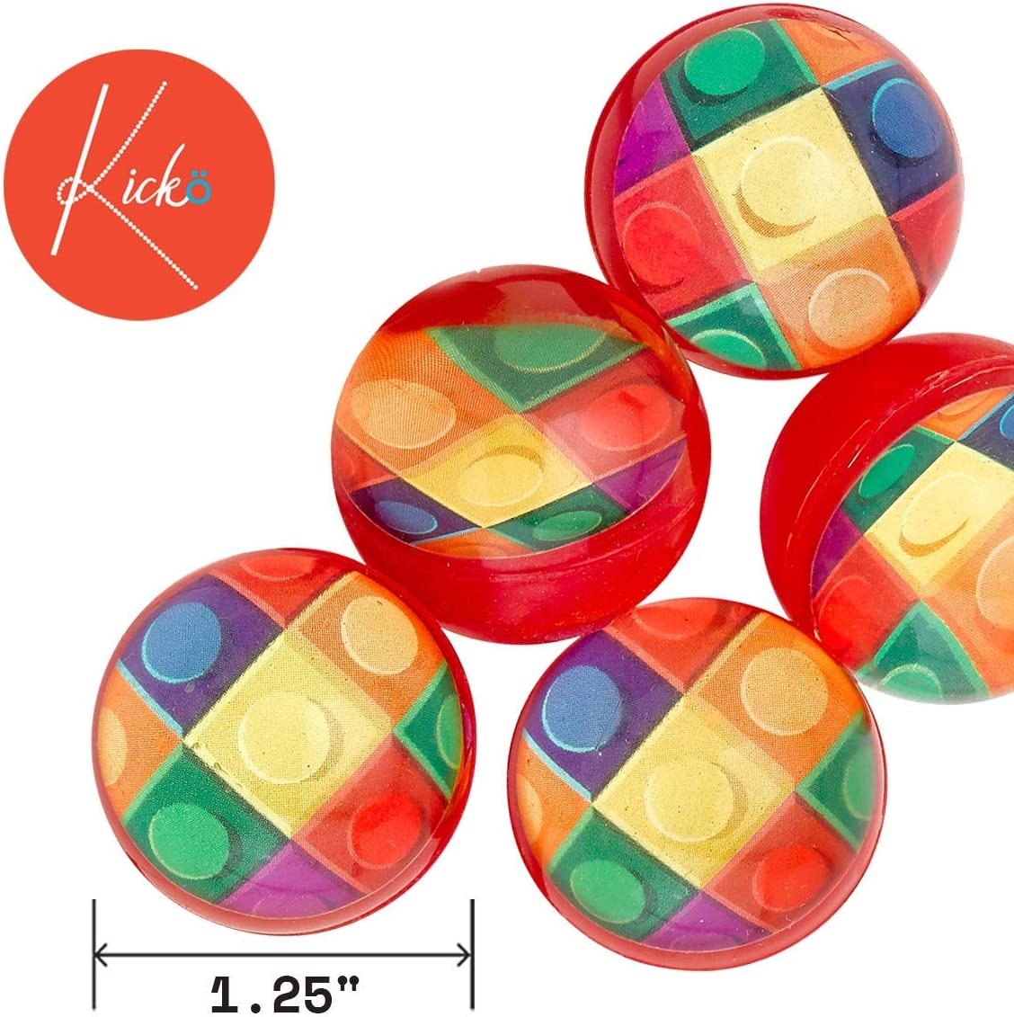Pinata Fillers Party Favors Decorations Birthday Supplies Kicko Block Mania Bounce Balls and Rewards 32 mm Classroom Prizes 12 Pack for Kids Stocking Stuffers Holidays