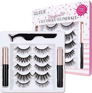 CALAILIS Magnetic False Eyelash and Magnetic Eyeliner Kit, Eye Makeup Waterproof Liquid Eye Liner, 3D Faux Mink Eye Lashes...