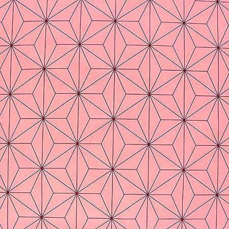 麻の葉文様 麻の葉柄 生地 ブロード 和柄 ピンク 桃色 NBK 生地 布 コスプレ 巾約112cm×1m切売カット IBK99078-2A-1M