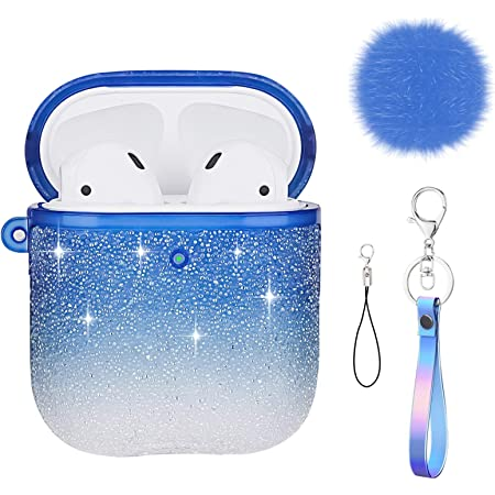 SPARKLY GLITTER Airpods Case Custom Airpod Cases Apple AirPods case with Clip Hook Keychain in Blue