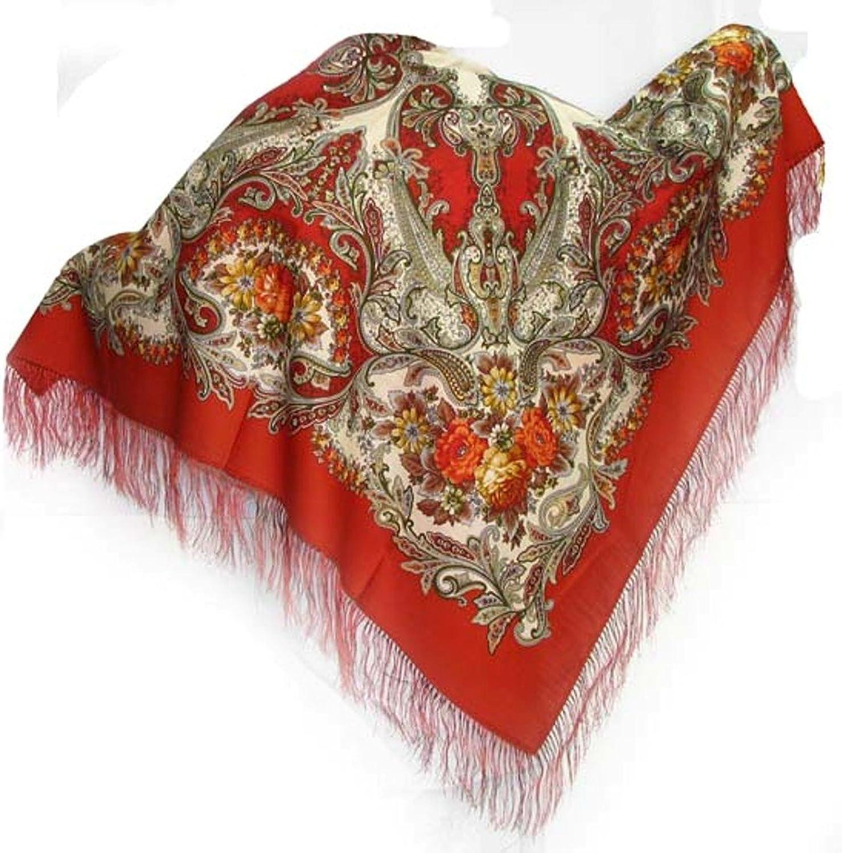 Russian Pavlov Posad Woolen Shawl Silk Fringe 50x50  (146303)