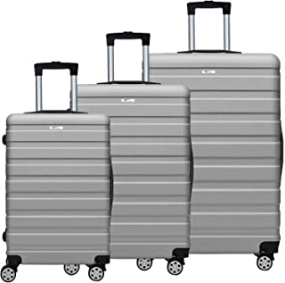 3 Pcs Luggage Set, ABS Fully Covered Suitcase 360 Degree Silence Wheels Durable Push-Button Handle Easy to Lock and Unlock...