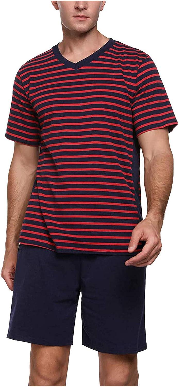 JSPOYOU Men's Short Cotton Striped Summer National products Two Set V-Neck Pyjama Popular overseas