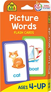 School Zone - Picture Words Flash Cards - Ages 4 and Up, Preschool to Kindergarten, Phonics, Early Reading Words, Sight Wo...