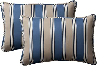 Pillow Perfect Decorative Striped Toss Pillow, Rectangle, Blue/Tan