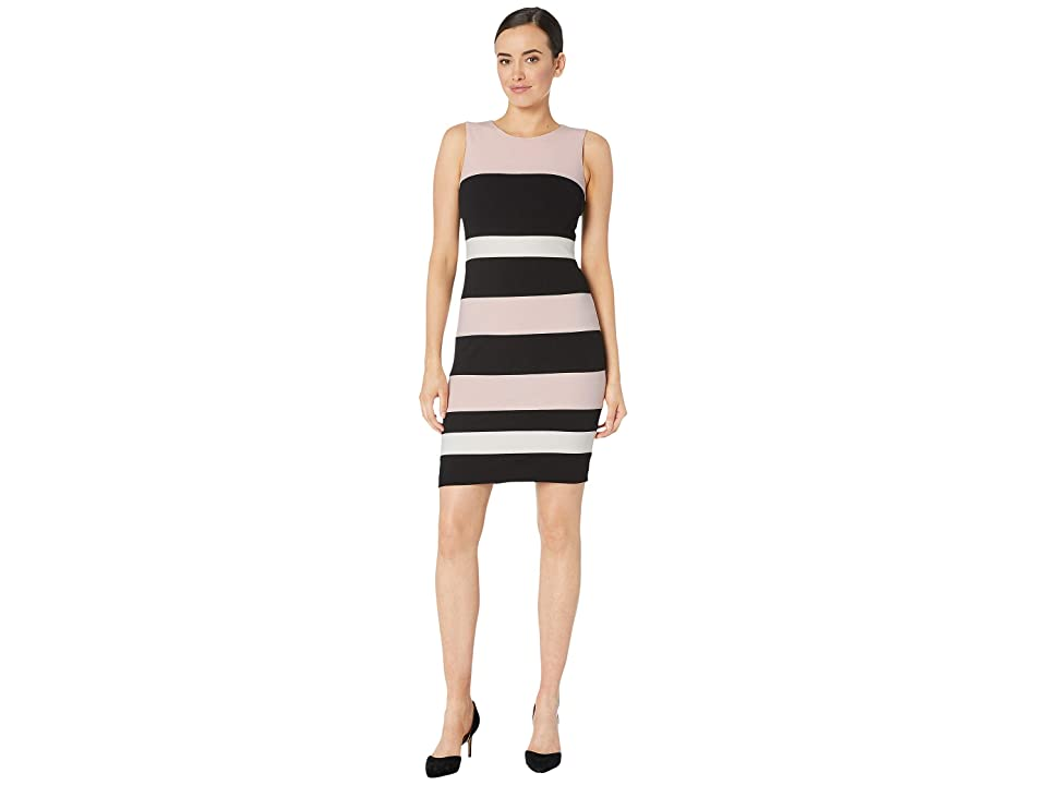 Tommy Hilfiger Scuba Crepe Dress (Ballerina Pink/Black/Ivory) Women