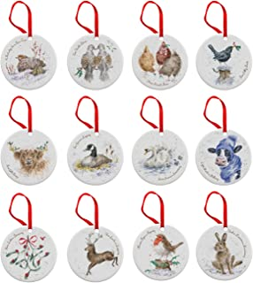 Wrendale 12 Days of Christmas Decorations, Bone China, Multi Coloured, 0.5 x 7 x 7 cm