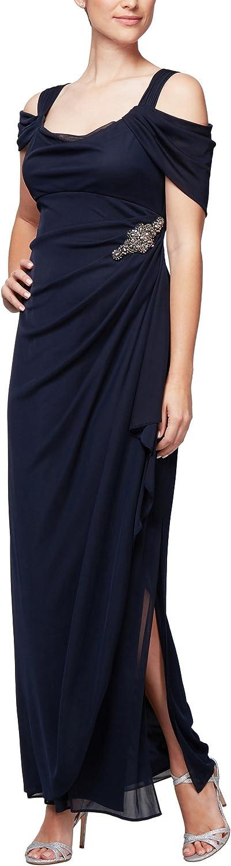Alex Evenings Women's Plus Size Cold-Shoulder Dress Side Ruched Skirt