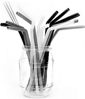 Belmalia 15 Pajitas de Silicona con 3 Cepillos de Limpieza, Reutilizable, Pajitas Elegantes: Negras Plateadas Transparentes