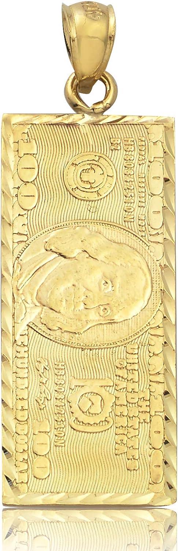 LoveBling 10K Yellow Gold Hundred Dollar Bill, Benjamin Franklin, Back to Back Charm Pendant (1.80