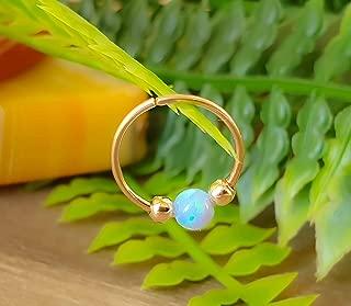 20G Nose Ring - Opal piercing Hoop 20 gauge - Tiny Piercings Nose Rings hoop - Opal nose hoops - Thin Nose Hoop - Light Blue opal piercing