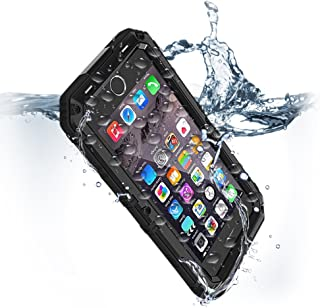 for iPhone 8 & 7 Waterproof Case with Built-in Screen Protector Heavy Duty Full Body Rugged Armor Hard Silicone Protection Cover Metal Military Grade Bumper Drop Dust Proof Protective Commuter Black