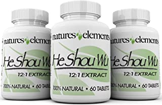 Natures Elements He Shou Wu for Gray Hair - 3 Pack - Supports Immune System Health - 500mg Prepared Fo Ti Extract