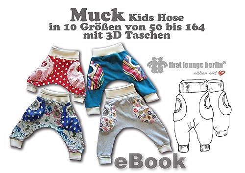 Muck Nähanleitung mit Schnittmuster für Jerseyhose in 10 Größen 50/56 bis 158/164 [Download]