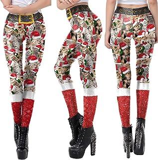 d1d8ac7d415d8 YUnnuopromi Legging élastique, Bonnet de Noël Chat Imprimé Skinny Crayon  Pantalon Long Pantalon X-