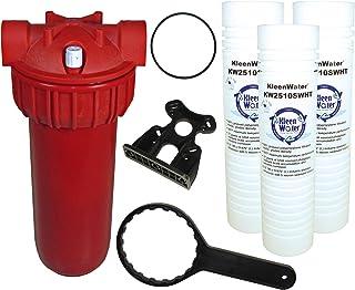 KleenWater Hot Water Filter (1), Mounting Bracket (1), 5 Micron High Temp Cartridges (3)..