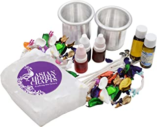 Asian Hobby Crafts Candle Making Kit Contents: Paraffin Wax, Pigment Colors, Candle Wicks, Aluminum Candle Container (Lite)