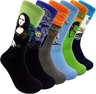 Womens Famous Painting Art Crew Socks Van Gogh - HSELL Novelty Patterned Casual Socks Fashionable 6 Pairs Fun Dress Socks (Van Gogh - 6 Pairs)