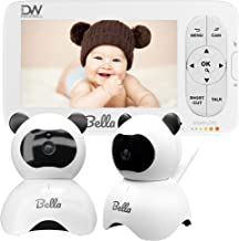 """Dockwell Bella Baby Monitor with 2 Cameras & Audio - 5"""" LCD Display - HD Clear Picture Quality - Wide Angle 340 Degree Pan 90 Degree Tilt - 2 Way Audio - Alert Notifications - Night Vision"""
