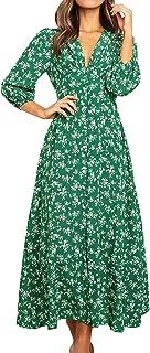 Eledobby Vestido De Verão Floral De Bolinhas Boêmio Feminino Vestido Casual Com Gola V Para Praia Com Cinto