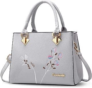 Sivias Crossbody Bag-Retro Women Top Handle Handbags Tote Purse Shoulder Bag Crossbody Bag PU Leather (Size:26cm*10cm*20cm) (Color : Grey)