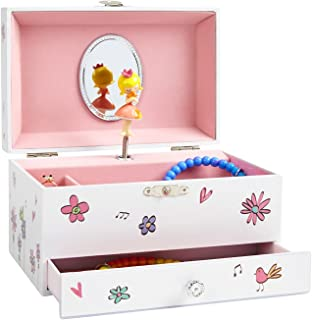 (Girl on Swing with Birds and Flowers) - JewelKeeper Girl's Musical Jewellery Storage Box with Pullout Drawer, Birds and Flowers Design, Waltz of The Flowers Tune
