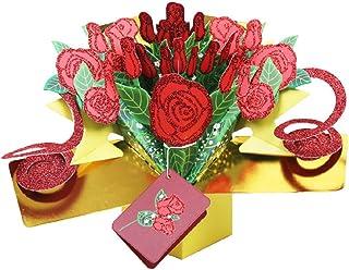 YOFO 1 Stück handgefertigte 3D Pop Up Rosa Blaume Grußkarte für Valentinstag Geburtstag Jahrestag Festival Einladung Hochzeit Liebe Geschenke B07GXQ2N66  Vitalität