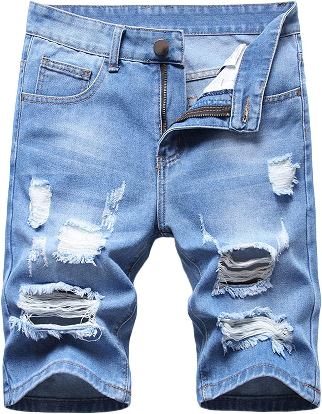 Men's Ripped Denim Shorts Washed Distressed Slim Jean Short Hole Vintage Stylish Knee Length Straight Jeans Short (Light Blue,28)