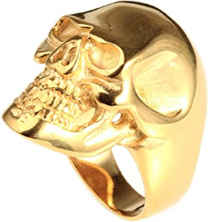 Mens Accessories Stainless Steel Ring Punk Rock Skull Ring Gold Rings for Men Ring Size 13