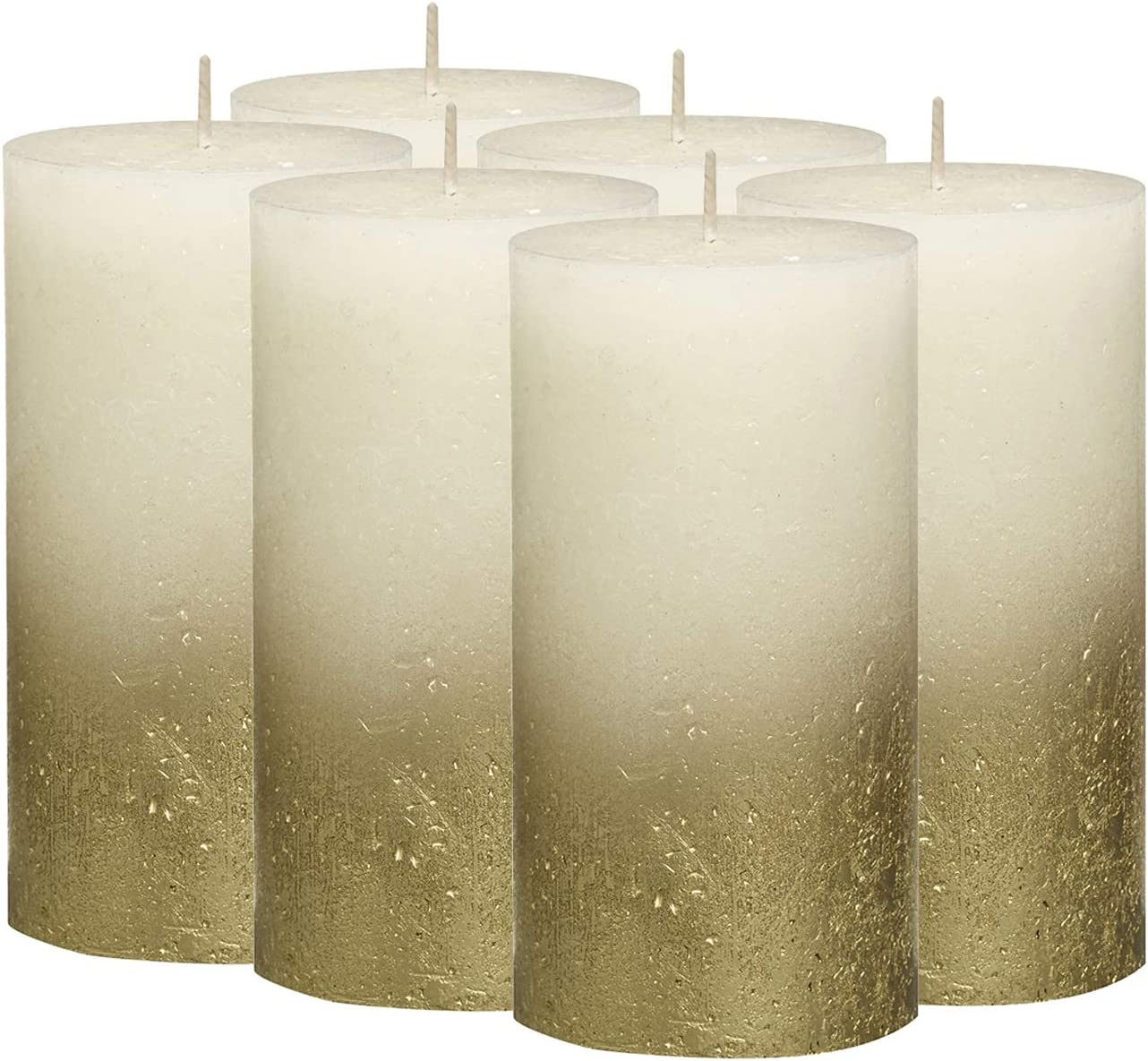 New sales Regular dealer Bolsius Fading Metallic Set of 6 Pillar Candles 2.75 X Unscented