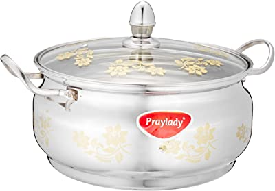 Praylady Imperial Stock Pot with Glass Lid and Gold Print, 22 cm, Silver