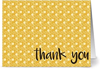 Thank You Cards – 24 Pack – Honey Hexagon – Unique Design – KRAFT ENVELOPES INCLUDED – Appreciation Greeting Card – Glossy Cover Blank Inside – By Note Card Café