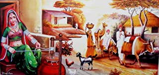 Churning The Curd/Indian Village Scene/Large Size Rolled Canvas Art Print Poster (20