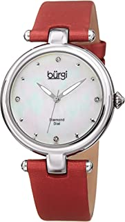 Burgi Women's Quartz Watch, Analog Display and Leather Strap Bur169Rd, Red Band