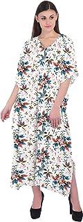 RADANYA Women's Cotton 3/4 Sleeve Kaftan Casual Loose Long Maxi Dress Floral Print