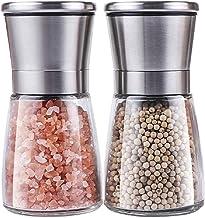 Pepper Grinder Set of 2 -Adjustable Pepper Mills Adjustable of Stainless Steel, Salt Grinder and Adjustable Coarseness Cer...