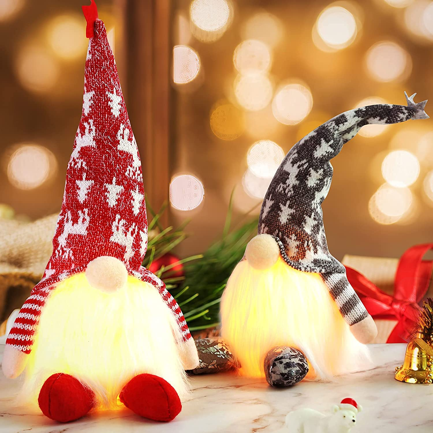 Plush Christmas Gnomes - Cute Holiday Decorations with LED Lights - Swedish Tomte Stuffed Toy Decor with High Hat, Star & Long White Beard - Lighted Ornaments for Home & Office - Battery NOT Included