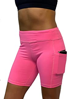 """Epic MMA Gear Stretchy Active Fitness Yoga Running Exercise Workout Shorts Side Pockets, 7"""" Inseam"""