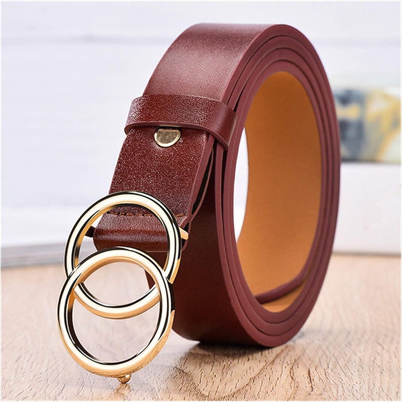 ZCPCS Designer's Famous Leather Belt Fashion Double Ring Circle Buckle Girl Jeans Dress Belts (Belt Length : 105CM, Color : SYL Wine red)