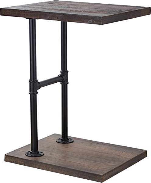 American Art Decor Wood And Metal C Style End Side Accent Bedside Table Farmhouse Decor Furniture