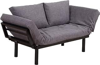 HOMCOM Convertible 5-Position Futon Daybed Lounger Sofa Bed -Black/Dark Grey