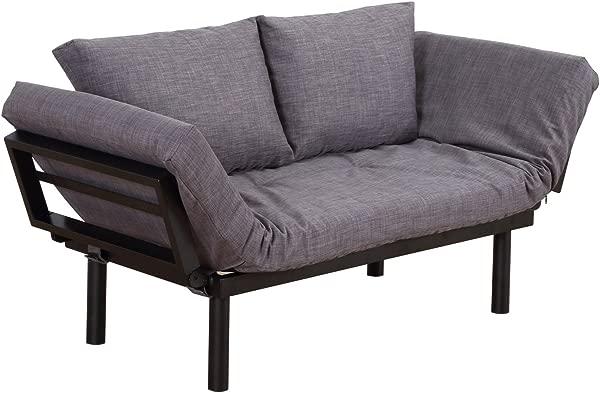 HOMCOM Convertible 3 Position Futon Daybed Lounger Sofa Bed Black Dark Grey